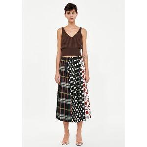 Zara Patchwork Print Pleated Midi Skirt